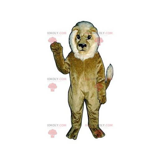 Brązowy i biały lew maskotka - Redbrokoly.com