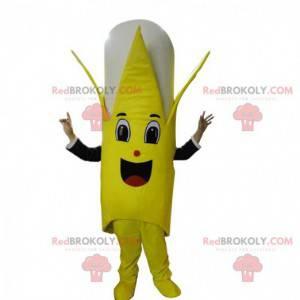 Mascot giant yellow and white banana, fruit costume -