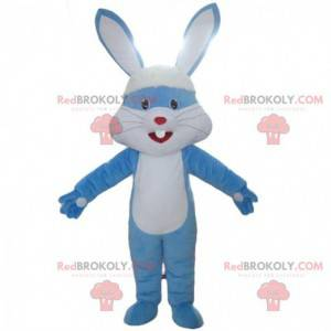 Blaues und weißes Kaninchenmaskottchen, Kaninchenkostüm -