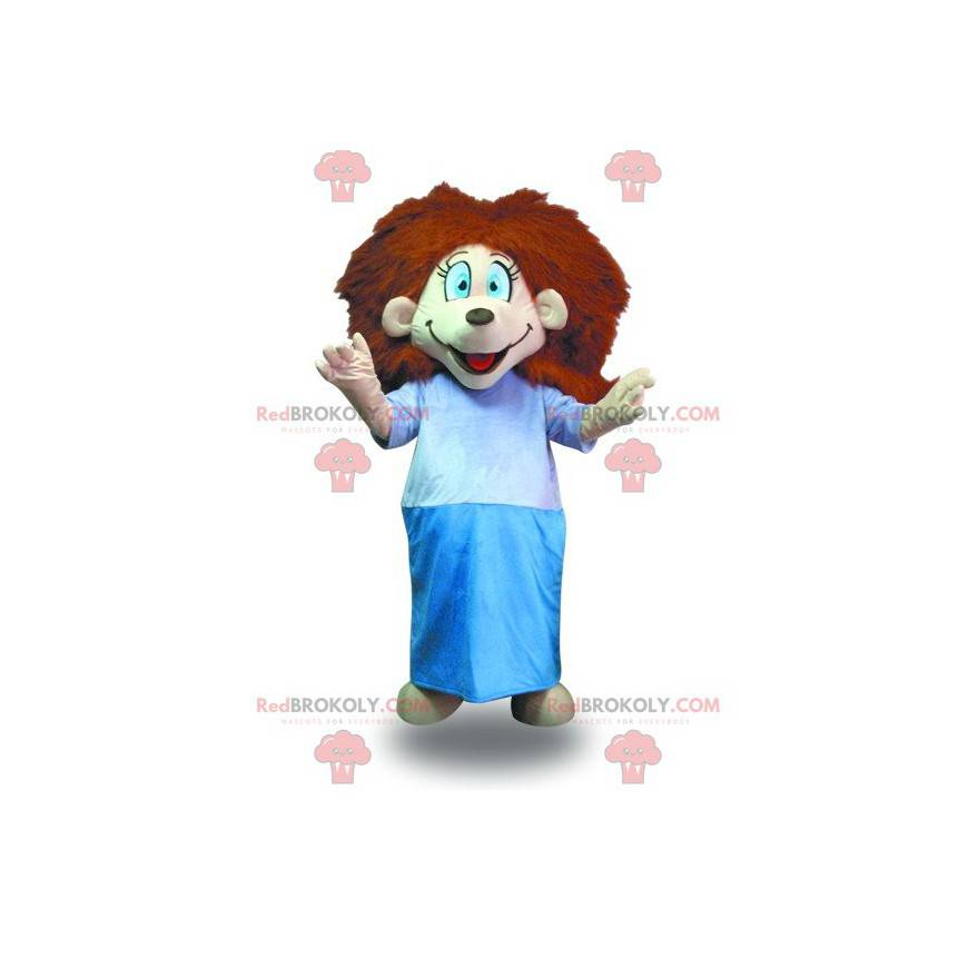 Maskottchenmädchen mit roten Haaren mit Bademantel -