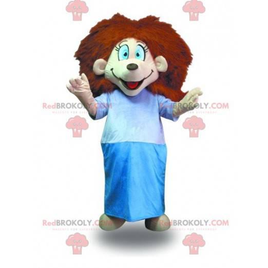 Maskot dívka s červenými vlasy s županem - Redbrokoly.com