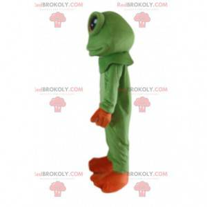 Maskotka zielona i pomarańczowa żaba, kostium żaby -