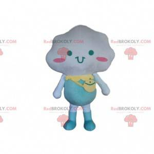 White cloud mascot dressed in blue, cloud costume -