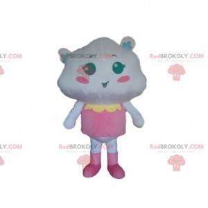 Hvit sky maskot kledd i rosa, sky kostyme - Redbrokoly.com
