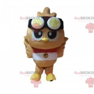 Bird mascot with aviator glasses, funny baby bird -