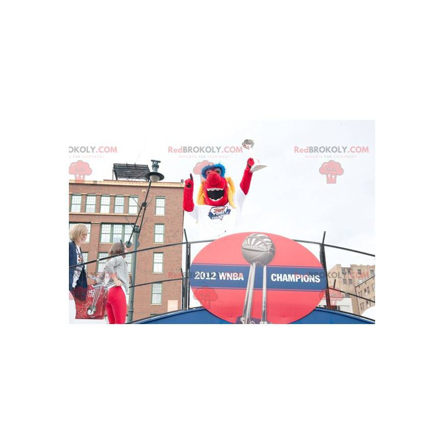 Red yellow and blue dog mascot - Redbrokoly.com