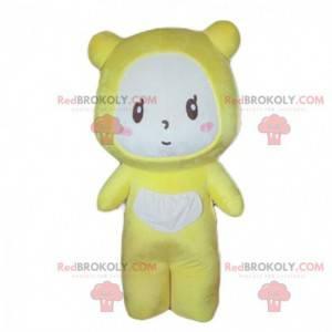 Gul bjørnemaskot, baby med pandapyjamas - Redbrokoly.com