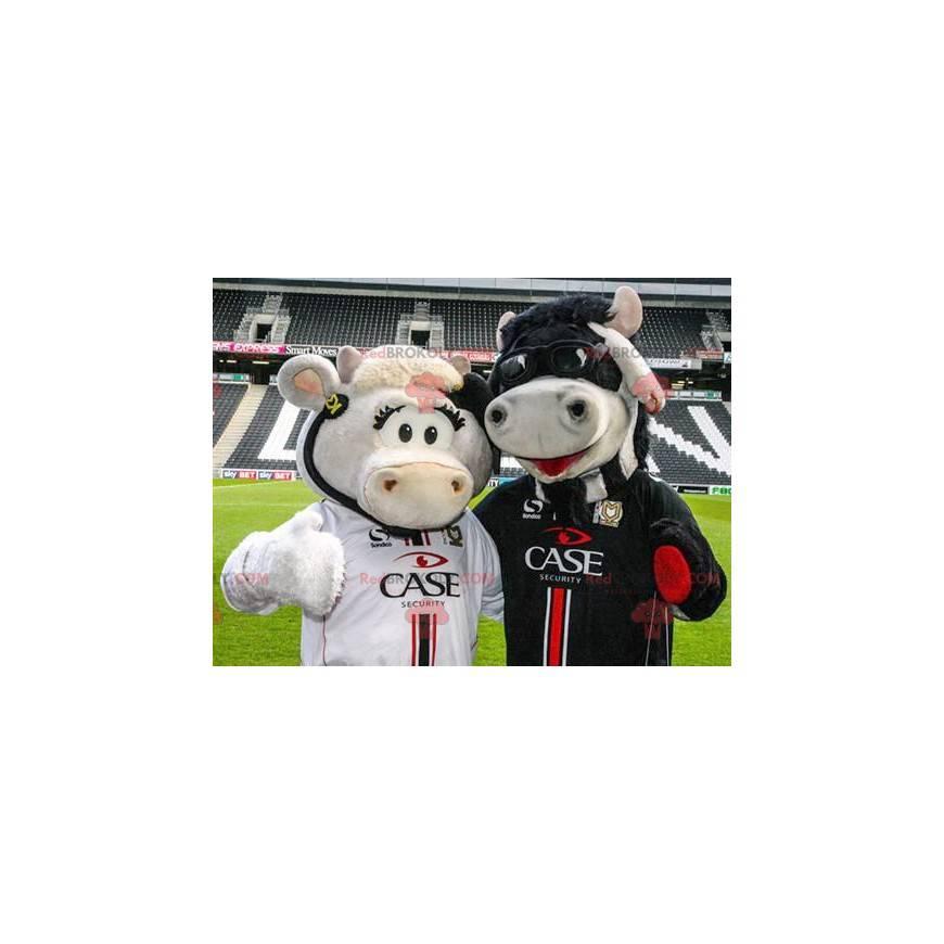 2 cow mascots, one white and one black - Redbrokoly.com