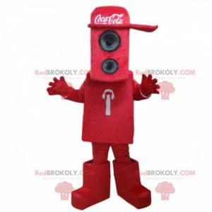 Rød kabinetmaskot med en Coca-Cola-hue - Redbrokoly.com