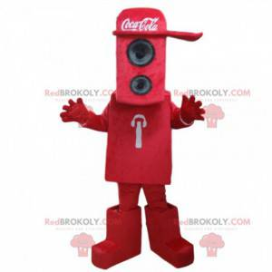 Rotes Gehäusemaskottchen mit Coca-Cola-Kappe - Redbrokoly.com