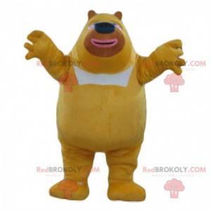Mascote grande urso amarelo e branco, fantasia de urso de