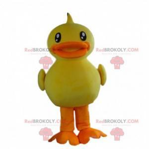 Grote gele en oranje eend mascotte, kanarie kostuum -