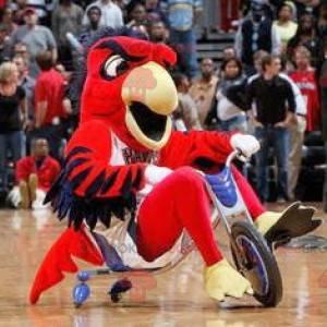 Mascotte rood blauw en geel vogel - Redbrokoly.com