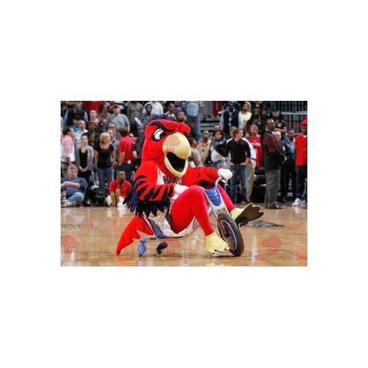 Red blue and yellow bird mascot - Redbrokoly.com