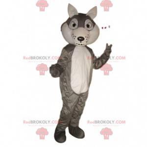 Mascote de lobo cinzento e branco, fantasia de cão lobo -