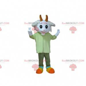 Mascote de cabra branca, fantasia de cabra, carneiro -