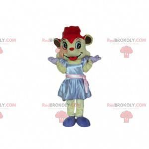 Mausmaskottchen mit einem Kleid und roten Haaren -
