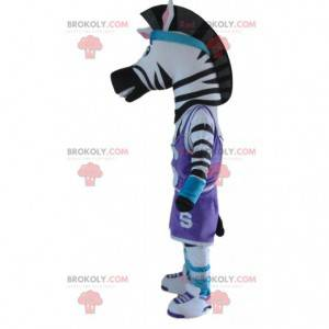 Mascote zebra em roupas esportivas, fantasia de animal