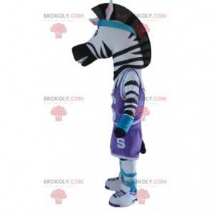 Zebra-mascotte in sportkleding, sportdierkostuum -