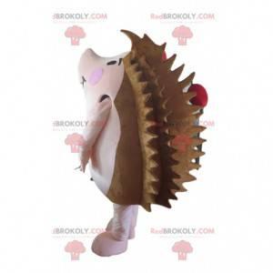 Brun og rosa pinnsvin maskot med epler - Redbrokoly.com