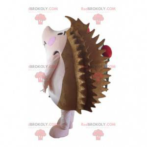 Mascote ouriço marrom e rosa com maçãs - Redbrokoly.com