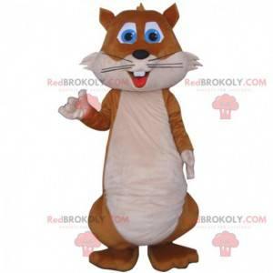 Mascota de ardilla marrón y blanca, traje de bosque -
