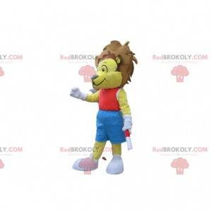 Yellow lion mascot in red and blue sportswear - Redbrokoly.com