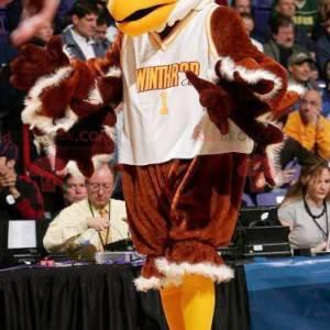 Mascote águia abutre marrom-branco e amarelo - Redbrokoly.com