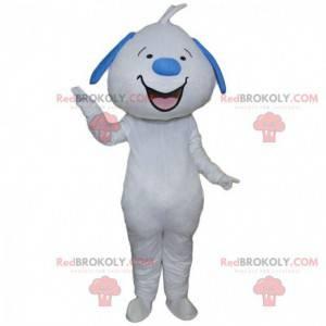 Mascote cachorro azul e branco sorrindo, cachorro gigante