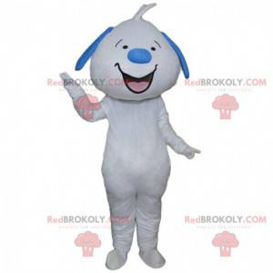 Witte en blauwe hond mascotte lachend, opgezette reuzenhond -