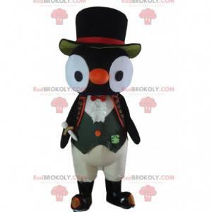 Mascotte grazioso pinguino molto elegante e divertente -