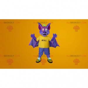 Mascote morcego roxo e amarelo - Redbrokoly.com