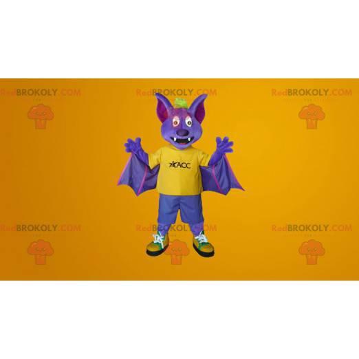 Maskot fialové a žluté netopýra - Redbrokoly.com