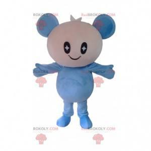 Mascote da boneca branca e azul, fantasia de urso de pelúcia -
