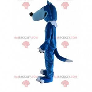 Mascotte lupo blu e bianco, costume da lupo gigante -