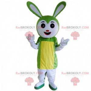 Mascote de coelho branco e verde, fantasia de roedor -