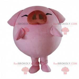 Grande mascotte maiale rosa, costume da fattoria -