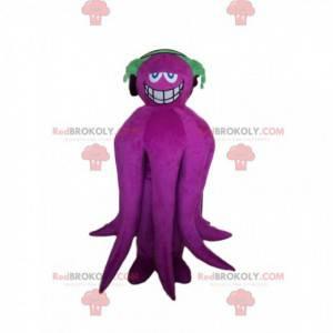 Glimlachende paarse octopusmascotte met hoofdtelefoons -