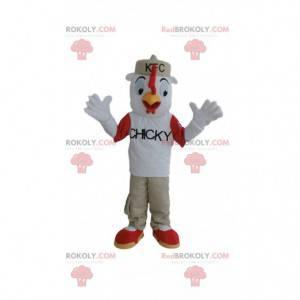 Mascote de frango KFC, fantasia de frango vestida -