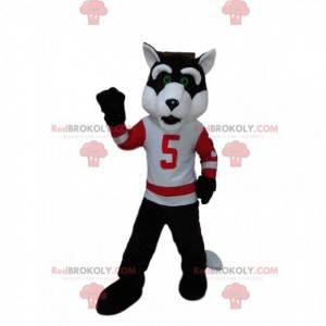 Mascote lobo em roupas esportivas, traje esportivo de lobo -