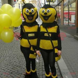 2 gelbe und schwarze Bienenmaskottchen - Redbrokoly.com