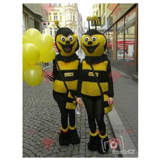 2 žluté a černé včelí maskoti - Redbrokoly.com