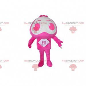 Mascote personagem rosa e branco, fantasia alienígena -