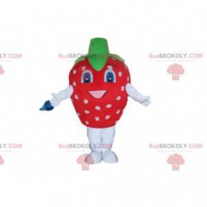 Mascote morango vermelho com pontos brancos, fantasia de