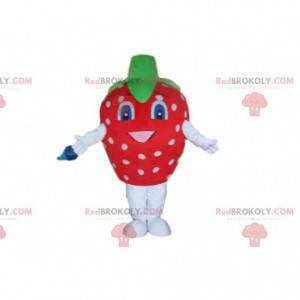 Mascotte fragola rossa con punti bianchi, costume fragola -
