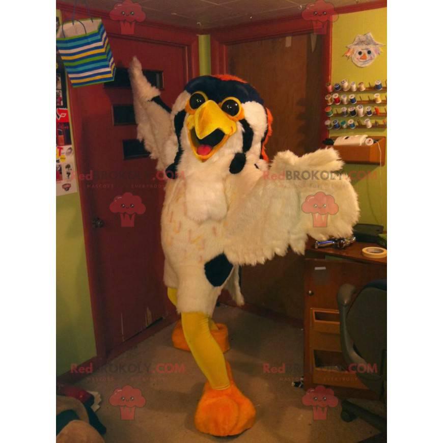 Sovy maskot žlutý a oranžový bílý pták - Redbrokoly.com