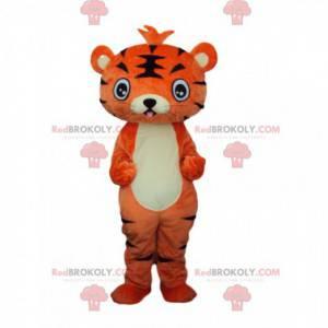Mascote jovem tigre laranja e preto, fantasia de felino -