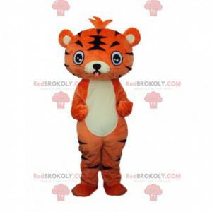 Mascotte giovane tigre arancione e nera, costume felino -