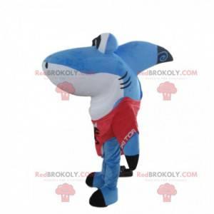 Grande mascote de tubarão azul e branco, fantasia divertida de
