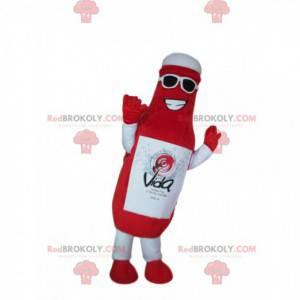 Mascot botella roja gigante, traje de salsa de tomate -